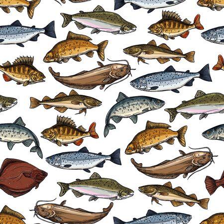 Fischen Sie nahtloses Muster mit Meer- und Flusstiervektorhintergrund. Seelachs, Thunfisch und Barsch, Karpfen, Forelle und Hering, Sardelle, Makrele und Flunder, Welse, Seehecht und Barschskizzen