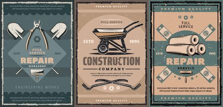 Construction company and repair service retro design with building work tools. Vector wheelbarrow, shovel and spade, spatula, rulers and wallpaper rolls, pliers, cutters, screws and claw bars Stock Illustratie