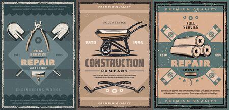 Entreprise de construction et service de réparation design rétro avec outils de travail de construction. Brouette vectorielle, pelle et pelle, spatule, règles et rouleaux de papier peint, pinces, cutters, vis et barres à griffes