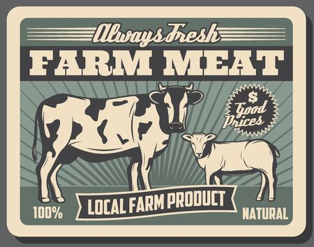 Farm meat, beef and lamb animals food products retro poster of livestock agriculture vector design. Cow and sheep, cattle breeding farm or animal farming, farmer market advertisement