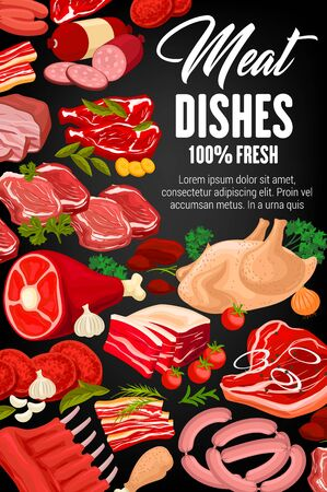 Meat food, sausages, herbs and spices vector design. Beef steaks, pork ribs and fresh chicken, ham, salami and bacon, smoked frankfurter, barbecue turkey leg and lamb, garlic, parsley and rosemary