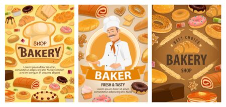 Bakery shop food vector design with baker, bread and sweet pastry. Wheat baguettes, rye bread and croissant, cake, donut and bun, cupcake, cookie and toast with chef hat and cereal ears
