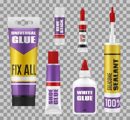 Glue package 3d mockups of adhesive stick, tubes and bottles. Vector super glue and silicone sealant, universal, white and shoes repair glue, branded plastic and metal packs on transparent background Illustration