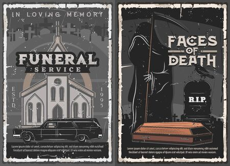 Funeral service, burial, cremation and interment ceremony vector design. Death with black coat, sickle, coffin and tombstone on cemetery, hearse car and church. Christian religion memorial rituals
