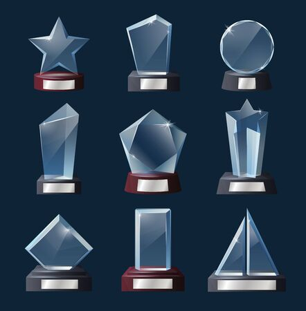 Glass trophy 3d vector templates with awards, prizes and winner cups of sport competition and reminder gift of achievements. Crystal stars, circle, ship sails and geometric figures on wooden bases