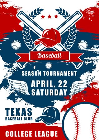 Baseball sport club symbol of vector balls, bats and pitcher player caps in frame of laurel wreath, wings and ribbon banner. Baseball game tournament or championship match poster, grunge design