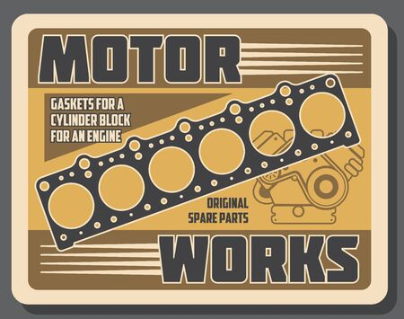 Car engine spare parts vector design of auto repair service and vehicle motor works. Automobile cylinder head gasket with mechanic gear, belt and piston retro poster Çizim