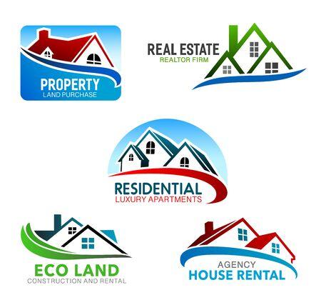 Bouw, onroerend goed en verhuurbureau vector symbolen met huizen. Thuis geïsoleerde iconen van gebouwen met mansardedaken en ramen. Ontwerp van huisstijl en merkemblemen