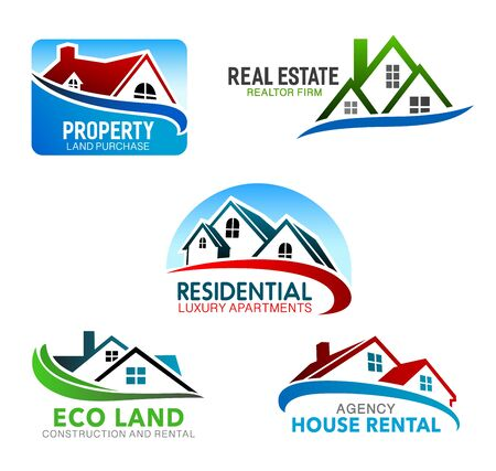 Simboli vettoriali di edilizia, immobiliare e agenzia di noleggio con case. Icone domestiche isolate di edifici con tetti a mansarda e finestre. Identità aziendale e design degli emblemi del marchio