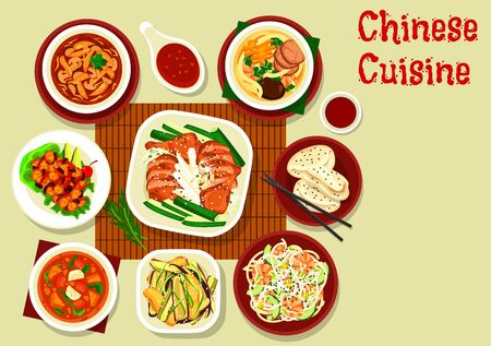 Chinese and asian cuisine meal of meat, vegetables and seafood vector design. Shrimp noodles and bean salads, baked duck in sweet sauce, chicken and veggies soups, steamed bun, beef with mushroom Illustration