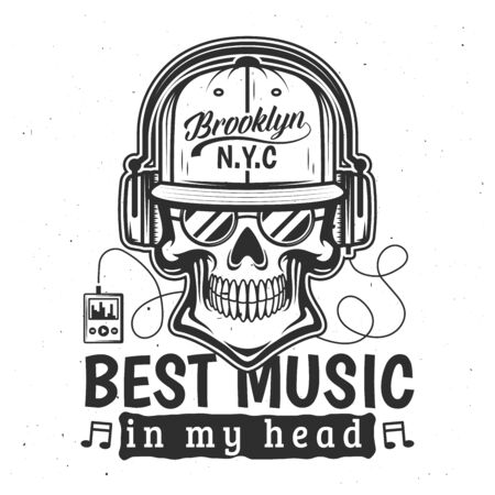 Skull with headphones t-shirt print. Vector skeleton head with trucker cap, sunglasses, musical notes and player, apparel fashion design with lettering and grunge effect Illustration