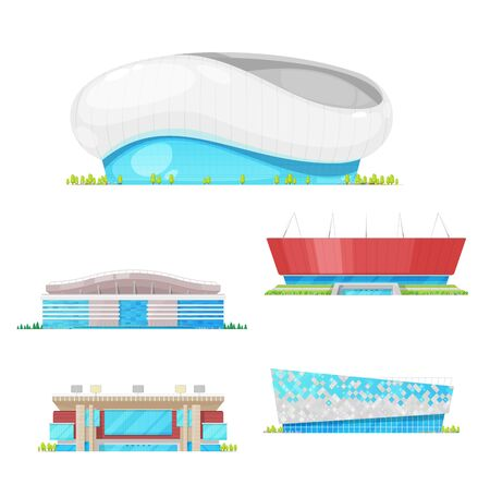 Stadium building vector icons of football, soccer, baseball and track and field sport arenas. Urban construction modern facades with lights and entrances, architecture design Illustration