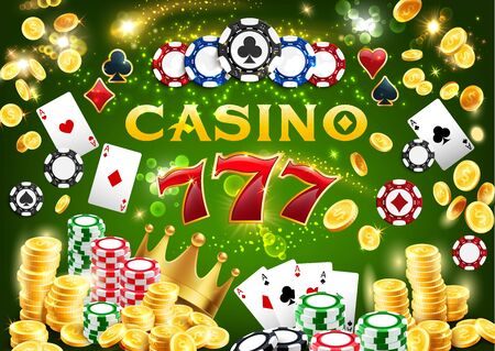 Casino chips and poker playing cards 3d vector design of gambling game. Jackpot winner combination of triple seven or lucky 777, gold coins and golden crown. Game of chance, online casino and betting