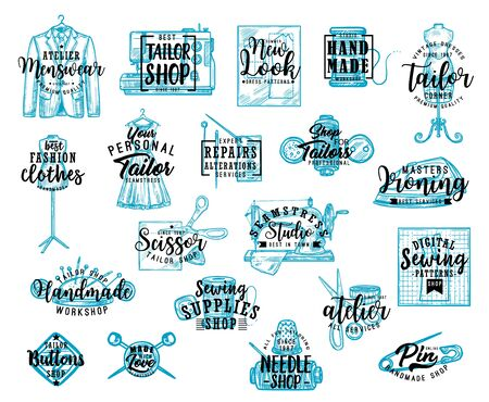 Tailor shop lettering icons with sewing tools and equipment sketches, fashion vector design. Sewing machine, scissors and needle, thread, button and mannequin, dress, tape measure, dressmaker patterns