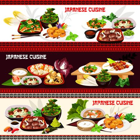 Japanese cuisine vector banners of Asian seafood and meat food. Rice, salmon and tuna sushi, pork mushroom soup, fried tofu cabbage and cauliflower salads, shrimp noodles, grilled fish with vegetables