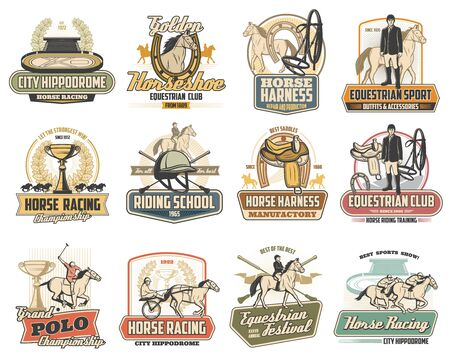 Equestrian sport vector badges of horse race, polo and riding school design. Jockey, racehorse and saddle, horseshoe, winner trophy cup and rider helmet, hippodrome, equine harness and polo mallets 일러스트