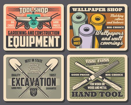 Repair work tools and construction equipment shop retro posters with vector shovels, wheelbarrows and wallpaper rolls, spades, crowbars and rasp files. Hardware store and carpentry workshop promo Illustration