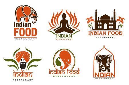 Ristorante indiano di cucina asiatica cibo icone vettoriali dell'uomo con baffi, barba e turbante, palazzo Taj Mahal e posa yoga, chef indiano, elefante e fiore di loto. Progettazione di emblemi e insegne Vettoriali