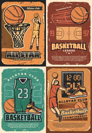 Basketball game sport club players with vector halftone orange balls, basket and hoop on court, scoreboard, team uniform jersey and sneakers retro design. Basketball club and championship posters