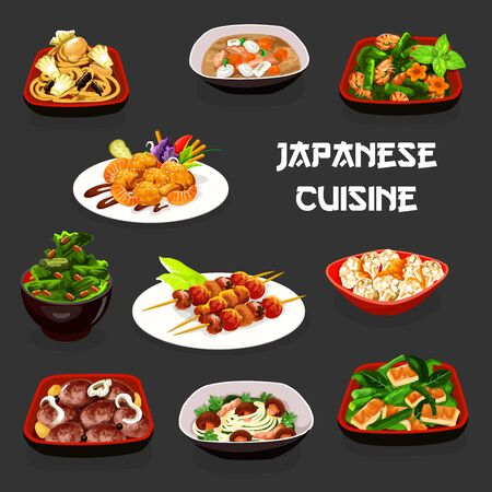 Japanese cuisine vector design of grilled fish and vegetables, fried tofu cabbage and shrimp salads, meat cutlets, seafood and mushroom noodles, cauliflower with miso sauce and pork soup. Asian food