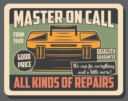 Toolbox with tools of repair and construction worker, car service mechanic toolkit vector design. Handyman equipment retro poster, carpentry and DIY themes Stockfoto - 128446140