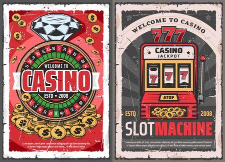 Carteles retro de juegos de azar de casino con ruleta vectorial, fichas y monedas de oro, máquina tragamonedas con combinación ganadora de 777 afortunados, diamantes y oro. Temas de casino en línea y juegos de azar