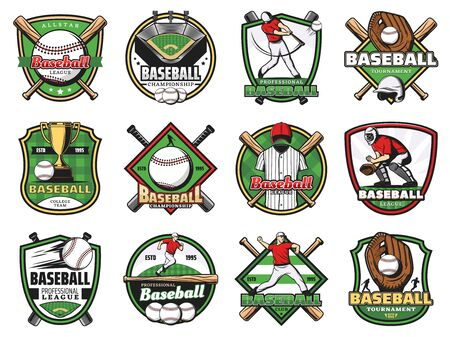 Baseball sport badges with vector players, balls and bats, winner trophy cups and stadium play fields, catcher gloves, helmet and leg guards. Baseball sport team equipment, club emblems design