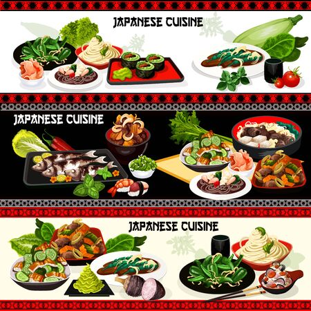 Japanese cuisine vector design of Asian seafood dishes. Nigiri sushi and vegetable rolls, stewed beef meat with veggies, rice and soba noodles, cucumber eel, green beans, pepper salads, baked mackerel