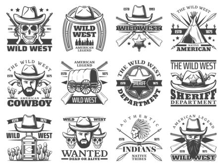 Wild West cowboy, skull, sheriff and western bandit vector icons. Bearded men with hats, guns and Texas ranger star badge, indian chief, old wagon and revolvers, horseshoe, arrows and bows Banque d'images - 128513374