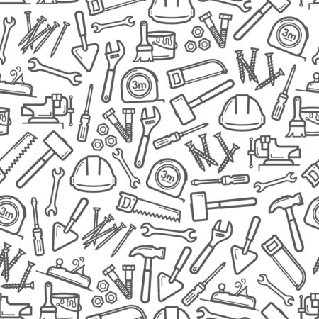 Work tools seamless pattern background of house repair and construction vector design. Screwdriver, hammer and spanner, paint, brush and trowel, tape measure, wrench, screws and hard hat backdrop Illustration