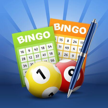 Lottery balls and bingo tickets 3d vector design. Lotto and keno gambling sport game betting slips with numbers and ballpoint pen poster of gaming industry
