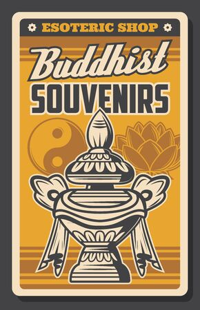 Buddhism religion vector symbols of Buddhist souvenirs shop retro poster. Oriental religious Yin Yang, sacred lotus flower and vase of treasure and wealth. Asian esoteric store design