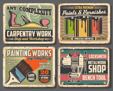 House repair tools rusty metal signboards with vector paint cans, brush, bench vice and jack plane. Carpentry, painting and wood work, locksmith and interior design instruments