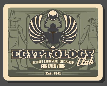 Egyptology club retro poster of ancient Egypt religion vector design. Egyptian gods of Anubis with jackal head and Horus with head of falcon, scarab amulet with wings and sun in paws Illustration