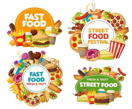 Fast food meal, drinks and desserts vector design of burger cafe and restaurant icons. Pizza, hamburger and fries, hot dog, sandwiches and soda, chicken nuggets, ice cream and coffee, donut, popcorn Illustration