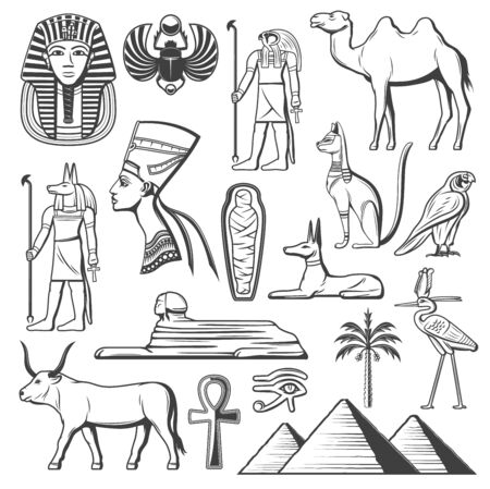 Ancient Egypt symbols of Egyptian religion and culture vector design. Pharaoh pyramid, mummy and Sphinx, Anubis god, Horus eye and Ankh sign, Tutankhamun, Nefertiti, dog and cat sculpture, palm, camel