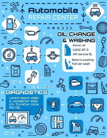 Auto repair service of car diagnostics and vehicle maintenance vector design with mechanic garage spare parts. Motor oil, wheel and tire, spanner, fuel and engine, wrench, piston and spark plug Ilustracja