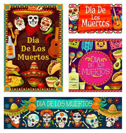 Dia de los Muertos cards with skulls and day of dead symbols. Vector skeleton calavera in sombrero hat, food and drinks, guitar and maracas. Flowers and Mexican ornaments, nachos and red pepper
