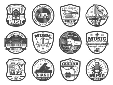 Musical instrument and equipment badges of music shop and sound recording studio vector design. Guitar, piano and microphone, vinyl records, trumpet and harp, tuba, flute, synthesizer and loudspeaker  イラスト・ベクター素材