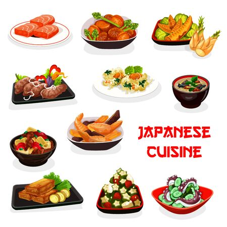 Japanese cuisine vector design of Asian meat and seafood dishes. Fish soup, chicken bamboo and radish pork stews, deep fried marlin and shrimp, cucumber octopus and okra tuna salads Illustration