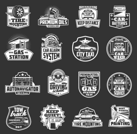 Car service vector badges with auto repair spare parts, vehicle tire and steering wheel, battery, motor oil and fuel can, tow truck and alarm key monochrome icons. Car wash, paint and towing emblems Ilustracja