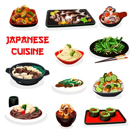 Japanese cuisine fish and meat dishes served with noodles and rice. Vector sushi rolls, beef vegetable stew, cucumber eel and green pepper salads, baked mackerel and scallop with beans Illustration