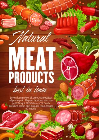 Sausages, natural meat food products with herbs and salad leaves vector design. Beef steak, pork salami and ham, bacon, barbecue frankfurter and lamb ribs, lettuce and parsley on wooden background