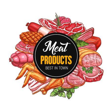 Mięso i kiełbasy wektorowe ikony z szkiców produktów żywnościowych wołowiny i wieprzowiny. Szynka, salami i bekon, grillowane skrzydełka z kurczaka, udka i grillowany stek z zielonymi ziołami i przyprawami. Projekt sklepu mięsnego