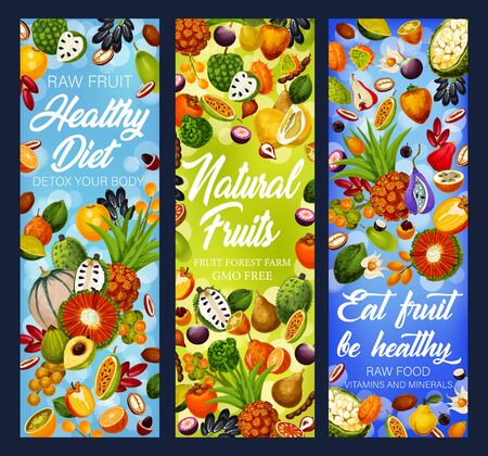 Fruit detox diet vector banners with exotic and tropical berries, health food and dieting design. Tangerine, cantaloupe and dates, kiwano, quince and pandan, physalis, marang, soursop and cherimoya Ilustração