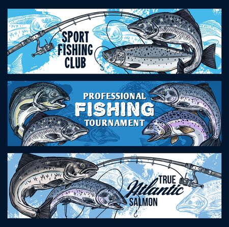 Fishing sport tournament vector banners with fishing rods and fish sketches. Salmon on hook of spinning, fisherman sport club competition design Vettoriali
