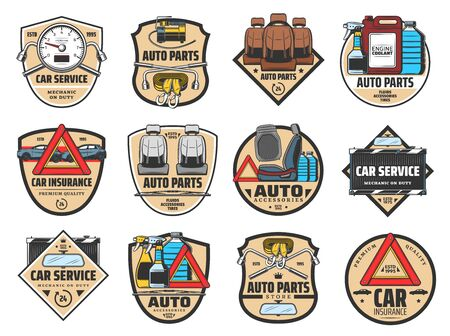 Car service vector badges with auto spare parts, repair tools and accessories. Motor oil, engine coolant and air filter, towing belts, seats and nut wrenches, mirror, speedometer and warning triangle Banque d'images - 128513526