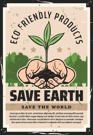 Save the Earth vector poster of hands holding plant with green leaves, forest trees and eco woodland. Ecology and environment protection, nature conservation themes