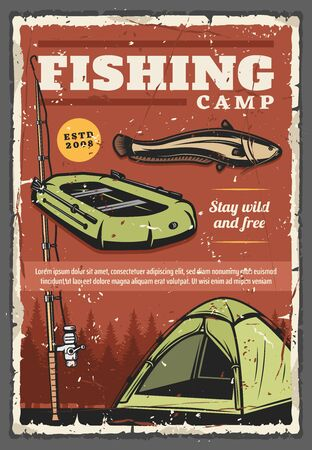 Fishing camp retro poster with fish, fisherman and tourist sport equipment. Vector fishing rod, boat, freshwater catfish against background of forest trees. Sporting tournament, outdoor activity