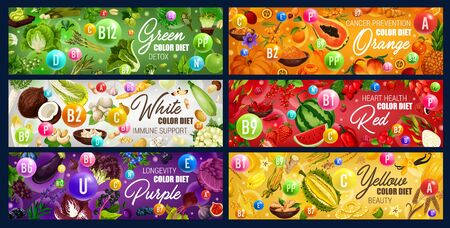 Color diet food, vitamins in rainbow colored fruits, vegetables and nuts, herbs, spices and berries, cereals, mushroom vector design. Red, green, orange, white, yellow and purple food health benefits